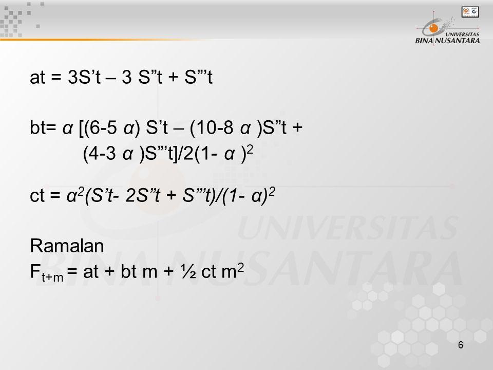 at = 3S't – 3 S t + S 't bt= α [(6-5 α) S't – (10-8 α )S t + (4-3 α )S 't]/2(1- α )2. ct = α2(S't- 2S t + S 't)/(1- α)2.